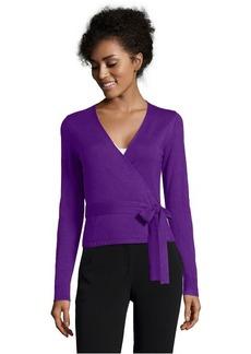 Diane Von Furstenberg purple cashmere blend ballerina wrap cardigan