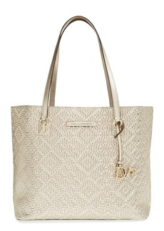 Diane von Furstenberg 'Ready to Go - Weave' Embossed Metallic Leather Shopper