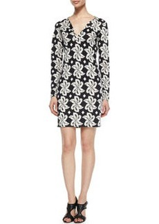 Diane von Furstenberg Reina Giant Leaf Printed Dress, Black