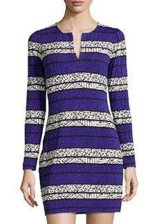 Diane von Furstenberg Reina Long-Sleeve Printed Dress, Arrow Bands Purple
