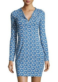 Diane von Furstenberg Rena Lace Petals Long-Sleeve Dress, Blue/White/Black