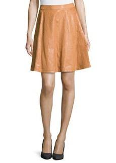 Diane von Furstenberg Riley Lambskin Leather Skirt, Cognac