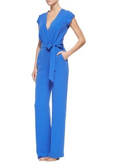 Diane von Furstenberg Riviera Wrap-Front Jumpsuit with Self-Tie  Riviera Wrap-Front Jumpsuit with Self-Tie