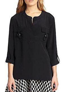 Diane von Furstenberg Roll-Sleeve Silk Top