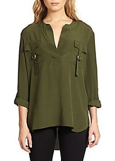 Diane von Furstenberg Roll-Sleeve Silk Top