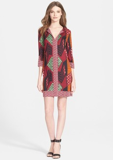 Diane von Furstenberg 'Rose' Mixed Print Silk Tunic Dress
