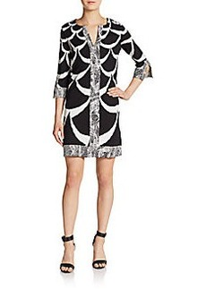 Diane von Furstenberg Rose Silk Contrast-Trim Shift Dress