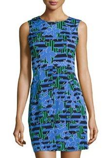 Diane von Furstenberg Round-Neck Mini-Dress, Lily Crossing Blue