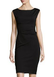 Diane von Furstenberg Ruched-Side Boat-Neck Dress, Black