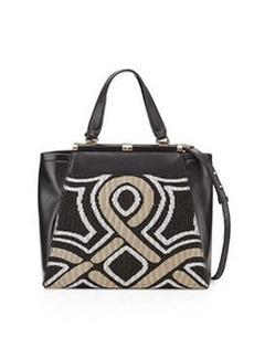 Diane von Furstenberg Runaway Colorblock Mixed-Media Tote Bag, Black/Gold