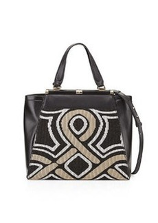 Diane von Furstenberg Runaway Colorblock Mixed-Media Tote Bag, Black/Gold