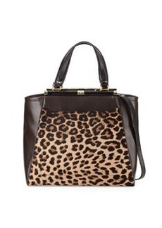 Diane von Furstenberg Runaway Leopard-Print Tote Bag, Leopard/Deep Mahogany