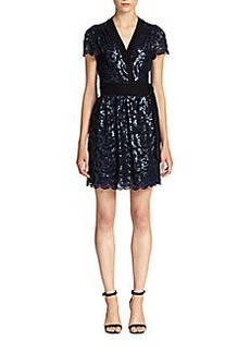 Diane von Furstenberg Sabina Sequined Lace Wrap Dress