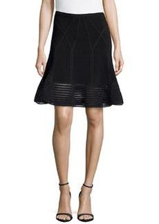 Diane von Furstenberg Samara Flared Crochet Hem Skirt, Black