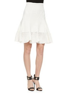 Diane von Furstenberg Samara Flared Crochet Hem Skirt, White