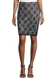 Diane von Furstenberg Scalloped Floral-Lace Overlay Skirt, Black/Ivory
