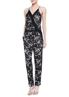 Diane von Furstenberg Shany Lace Jumpsuit, Nougat/Black