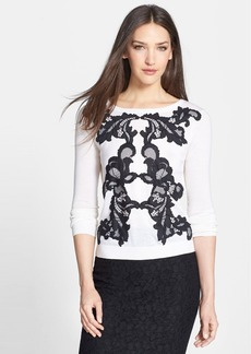 Diane von Furstenberg 'Shara' Lace Appliqué Wool Sweater