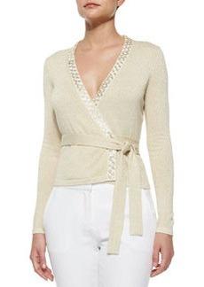 Diane von Furstenberg Shimmer-Knit Ballerina Wrap Top, Gold/Ivory