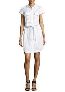 Diane Von Furstenberg Short-Sleeve Belted Shirtdress, White