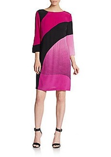 Diane von Furstenberg Sienna Silk Mixed-Stripe V-Back Dress