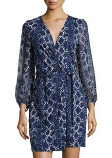 Diane von Furstenberg Sigourney Grid-Print Wrap Dress