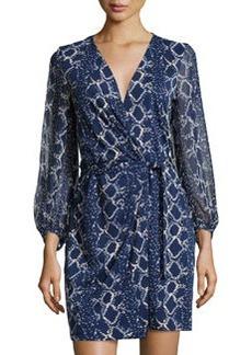 Diane von Furstenberg Sigourney Grid-Print Wrap Dress, Midnight