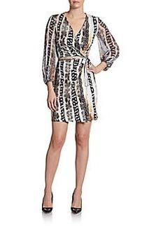 Diane von Furstenberg Sigourney Silk-Crepe Mini Wrap Dress