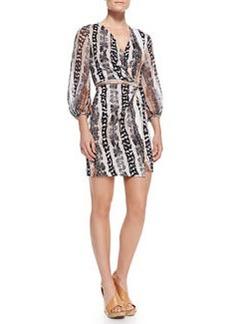 Diane von Furstenberg Sigourney Snake-Print Short Wrap Dress