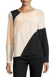 Diane von Furstenberg Silk Asymmetric Colorblock Top, Nougat/Champagne/Black