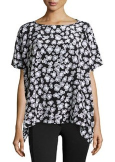 Diane von Furstenberg Silk Spotted Cap-Sleeve Blouse, Black