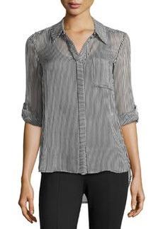 Diane von Furstenberg Skinny-Striped Blouse W/ Pocket, Black/White