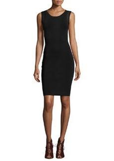 Diane von Furstenberg Sleeveless Knit-Mesh Zip-Back Dress, Black