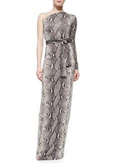Diane von Furstenberg Snake-Print One-Shoulder Maxi Dress
