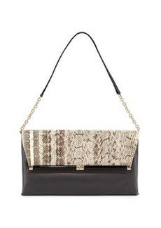 Diane von Furstenberg Snakeskin & Leather Envelope Clutch Bag, Natural Roccia/ Flint