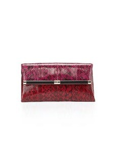Diane von Furstenberg Snakeskin Envelope Clutch Bag, Pink/Red
