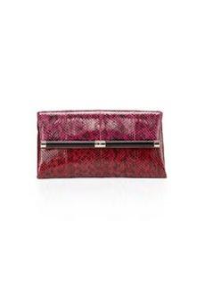 Diane von Furstenberg Snakeskin Envelope Clutch Bag, Pink/Red