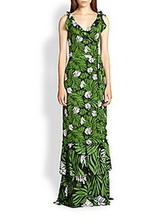 Diane von Furstenberg SNL Botanical-Print Silk Wrap Maxi Dress