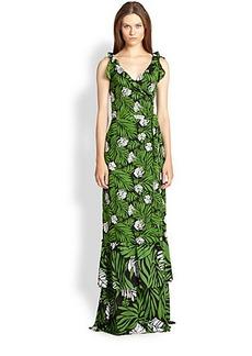 Diane von Furstenberg SNL Floral-Print Silk Wrap Maxi Dress