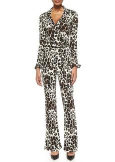 Diane von Furstenberg Snow Cheetah-Print Wrap Jumpsuit
