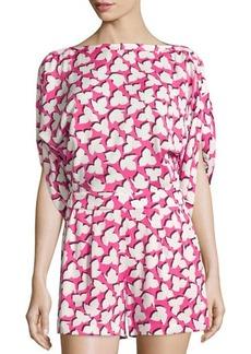 Diane von Furstenberg Soleil Floral 3/4-Sleeve Romper