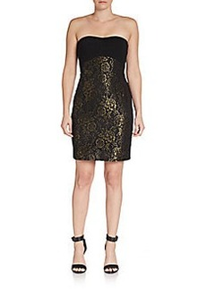 Diane von Furstenberg Strapless Garland Metallic Dress