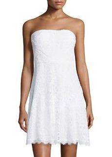 Diane Von Furstenberg Strapless Lace Cocktail Dress, White
