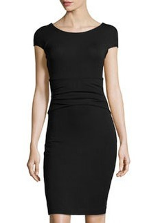 Diane von Furstenberg Stretch-Jersey Cap-Sleeve Dress, Black