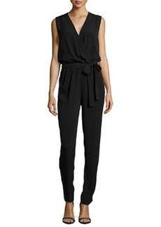 Diane von Furstenberg Surplice-Neck Straight-Leg Jumpsuit, Black