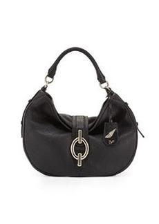 Diane von Furstenberg Sutra Grained Leather Hobo Bag, Black