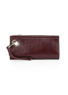 Diane von Furstenberg Sutra Lizard-Embossed Clutch Bag, Cherry