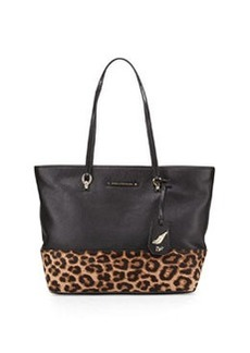 Diane von Furstenberg Sutra Ready2Go Leather Tote Bag, Black/Leopard