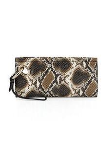 Diane von Furstenberg Sutra Snake-Embossed Clutch Bag, Mahogany/Multi
