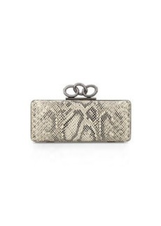Diane von Furstenberg Sutra Snake-Embossed Clutch Bag, Natural